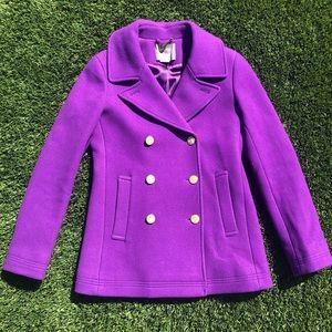 J Crew Peacoat Jacket Coat Purple Small S size 4